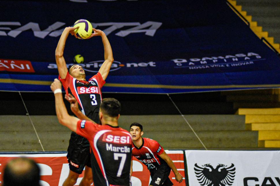 Sesi-SP reage, busca o empate, mas fica atrás no confronto contra o Vôlei Renata pelo Campeonato Paulista 2020